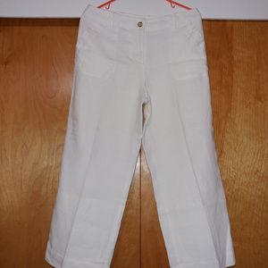 Charter Club Capri Pants Size 8 Linen 100 % White